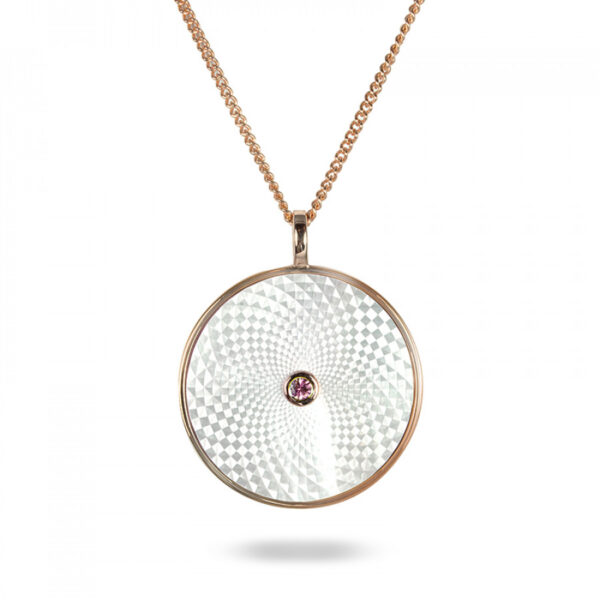 Sterling Silver Large Pendant with White Mother-of-Pearl and Pink Sapphire Gem