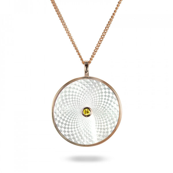 Sterling Silver Large Pendant with White Mother-of-Pearl and Yellow Sapphire Gem