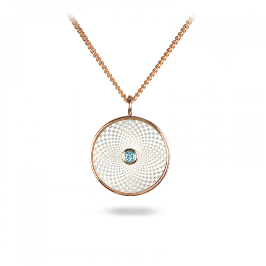 Sterling Silver Small Pendant with White Mother-of-Pearl and an Aquamarine Gem