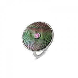 Sterling Silver Grey Mother-of-Pearl Ring with Pink Sapphire Gem