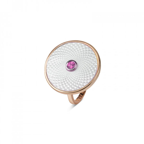Sterling Silver White Mother-of-Pearl Ring with Pink Sapphire Gem