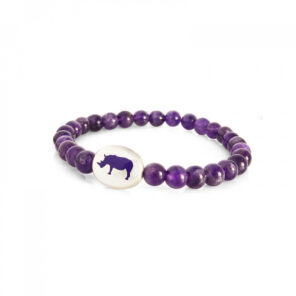 Sterling Silver Purple Bead Bracelet with Rhino Emblem