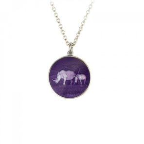 Sterling Silver Rhino Disc Pendant with Purple Enamel