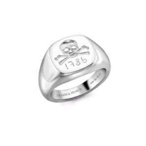 Sterling Silver Skull & Cross Bones Ladies Signet Ring