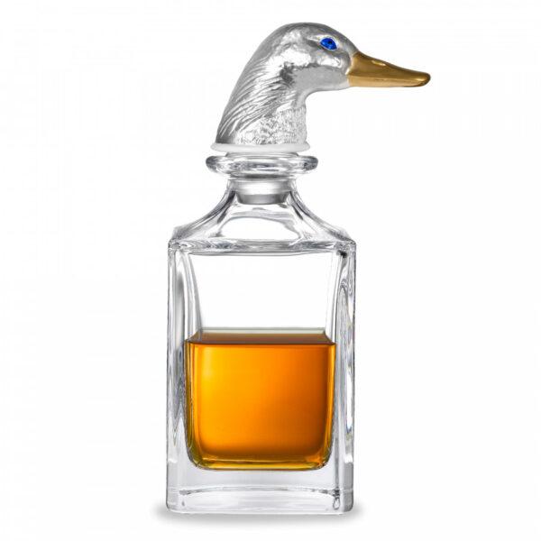 Silver duck head crystal decanter