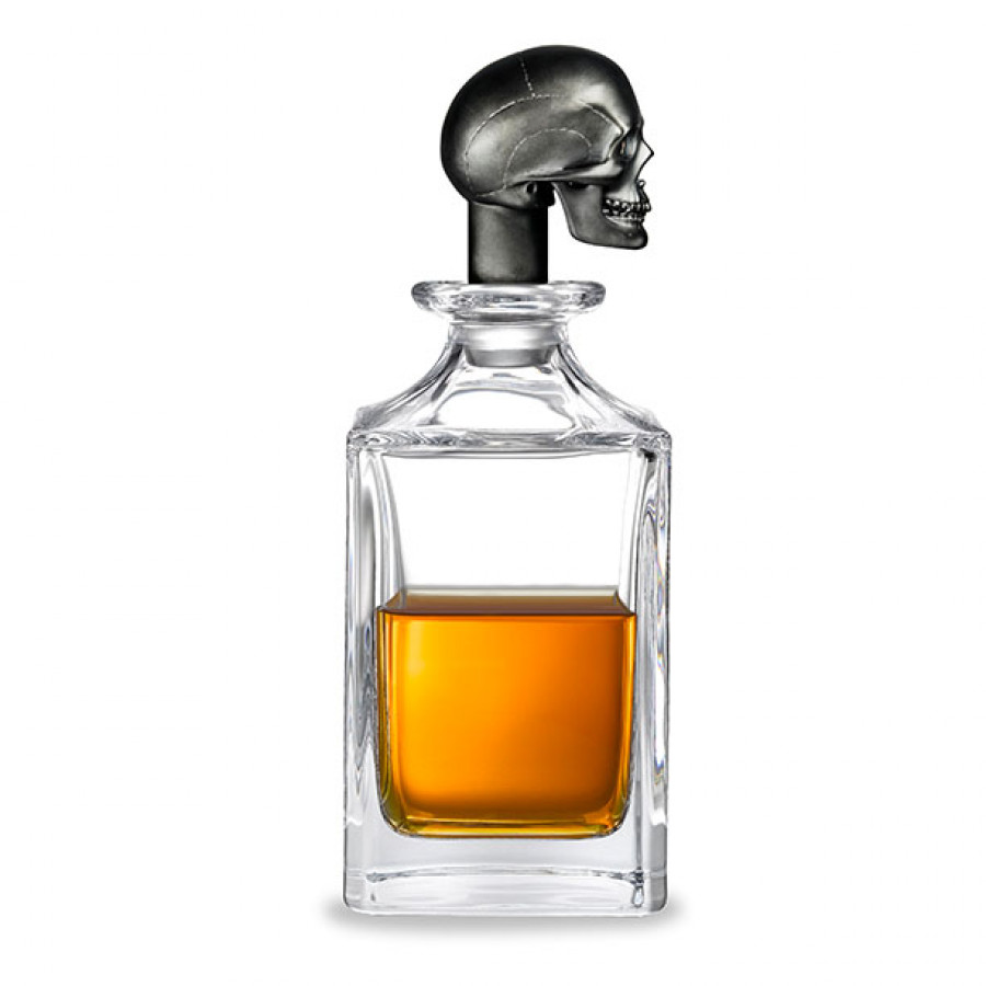 Matt Black Skull Head Crystal Decanter