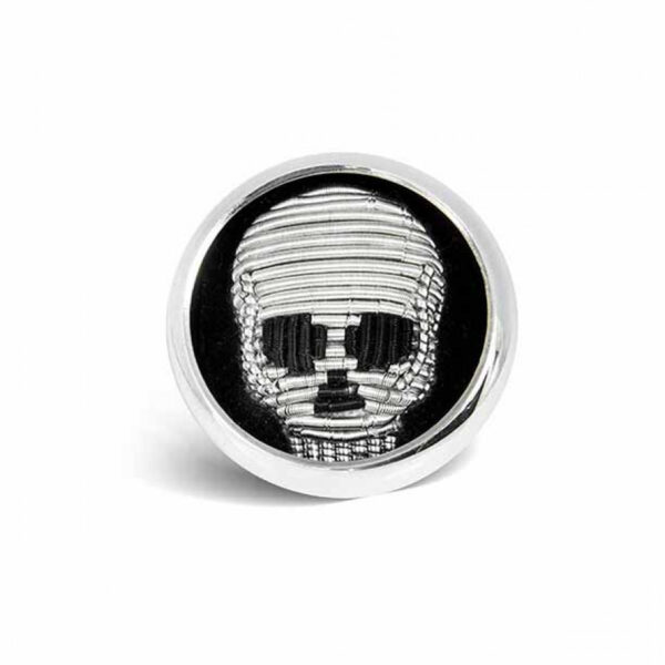 Sterling Silver Embroidered Skull Lapel Pin