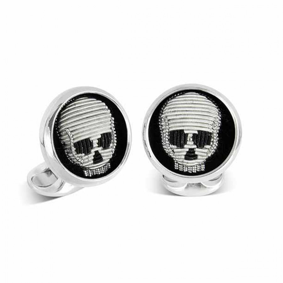 Sterling Silver Embroidered Skull Cufflinks