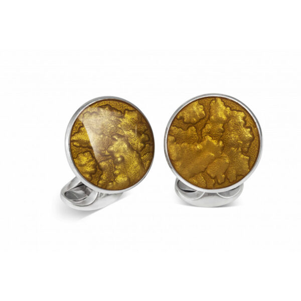 Sterling Silver Summer Haze Enamel Cufflinks in Burnt Orange