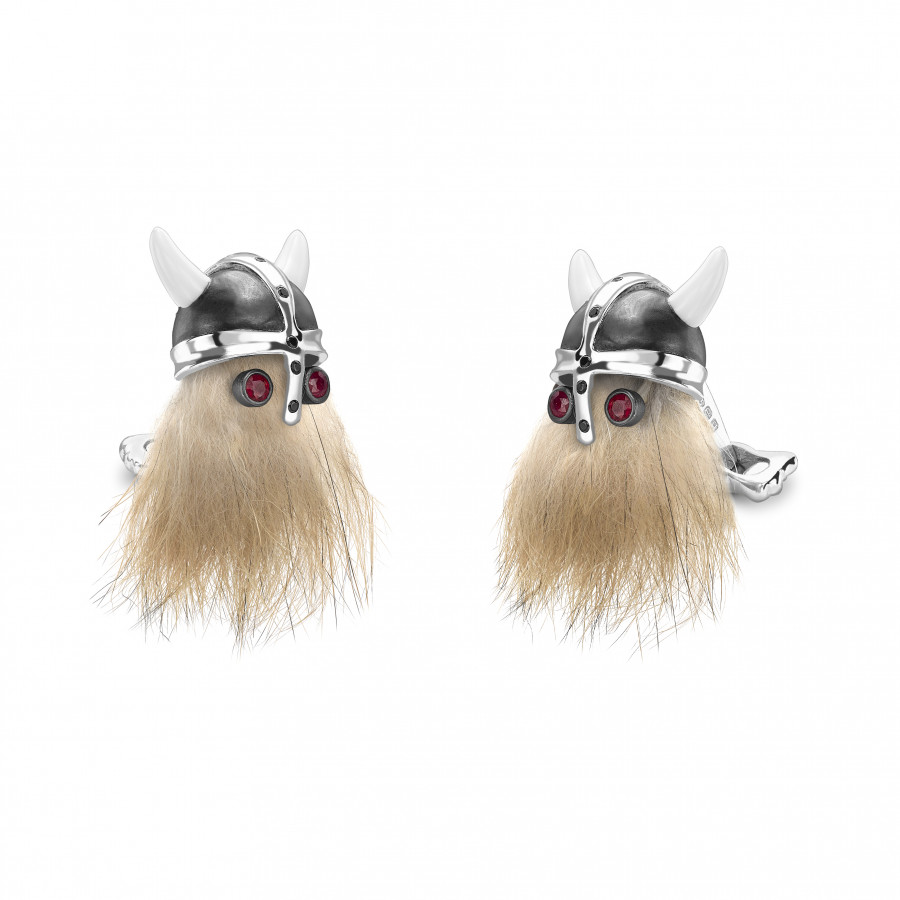 Hairy Viking Skull with Black Helmet and Ruby Eye Cufflinks