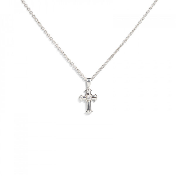 18ct White Gold Cross Pendant with 5 Diamond Points
