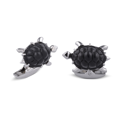18ct White Gold Onyx Turtle Cufflinks