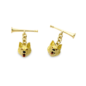18ct Yellow Gold Fox Head Chain Cufflinks With Hunting Horn