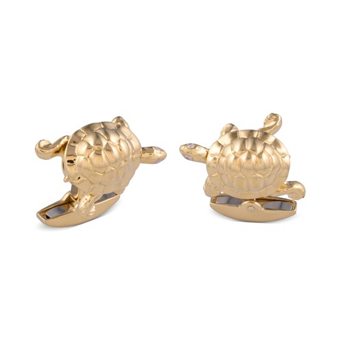 18ct Yellow Gold Walking Tortoise Cufflinks With Diamond Eyes
