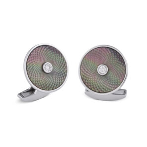18ct White Gold Dreamcatcher Cufflinks With Grey Mother of Pearl and Diamond