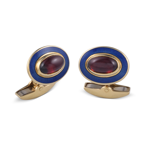 18ct Yellow Gold Oval Garnet Cufflinks With Blue Enamel Border