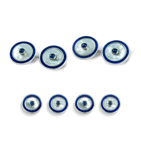 18ct White Gold Round Dress Set with Mother of Pearl and Sapphire