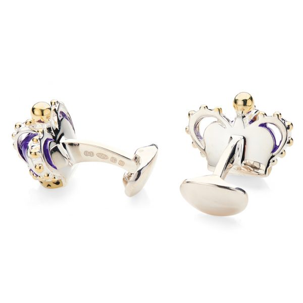 Sterling Silver Purple Crown Cufflinks