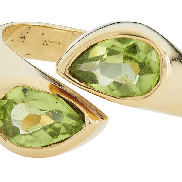 18ct Yellow Gold Peridot Cross Over Ring