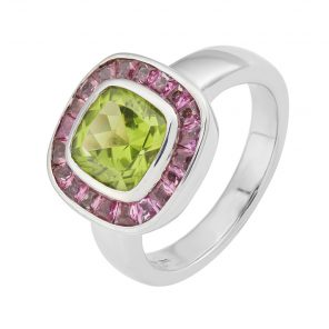 18ct White Gold Cushion Shape Peridot Ring With Pink Tourmaline Border