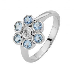 18ct White Gold Aquamarine And Diamond Cluster Ring