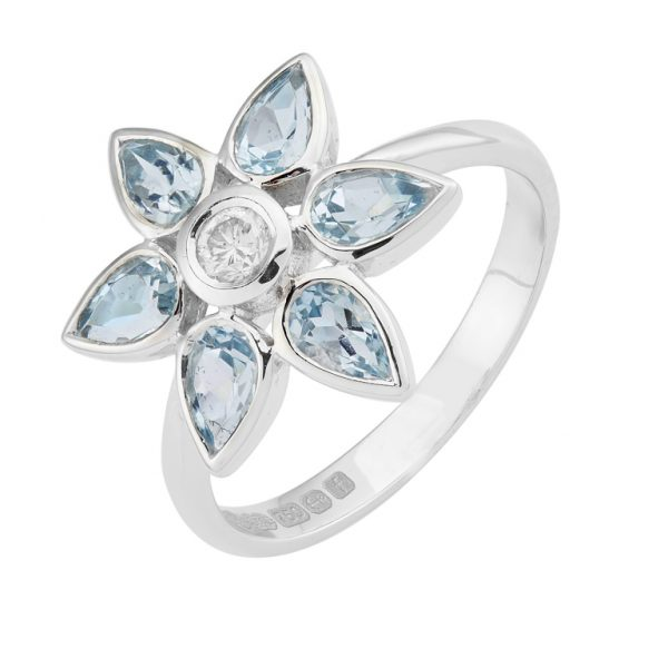18ct White Gold Aquamarine And Diamond Petal Cluster Ring