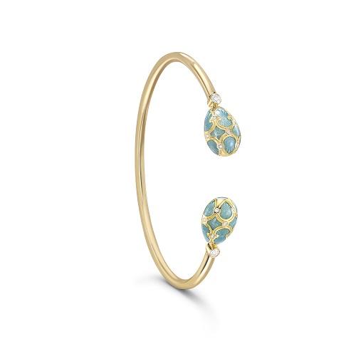 Fabergé Heritage Yellow Gold Turquoise Guilloché Enamel Open Set Bracelet