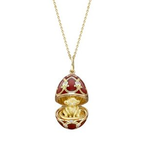 Fabergé Heritage Yellow Gold Red Guilloché Enamel Year of the Monkey Surprise Locket