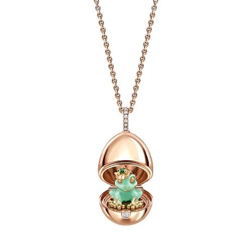 Fabergé Essence 18ct Rose Gold & Green Lacquer Frog Surprise Locket