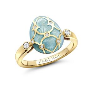 Fabergé Heritage Yellow Gold Turquoise Guilloché Enamel Egg Ring