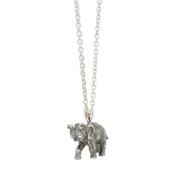 Sterling Silver Oxidised Black Elephant Pendant and Chain
