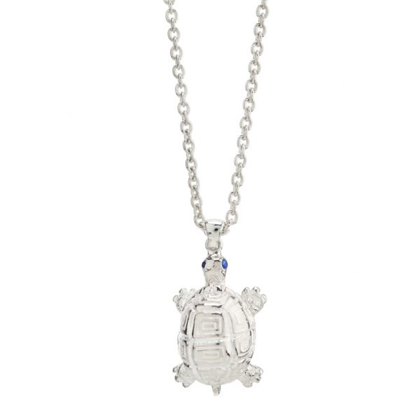Sterling Silver Turtle Pendant with Sapphire Eyes
