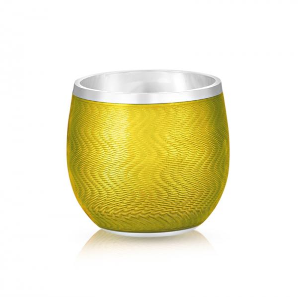 Fabergé Yellow Guilloche Enamel Shot Glass