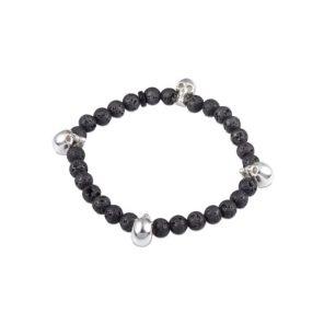 Black Lava Bead Stretch Bracelet with Silver Skulls