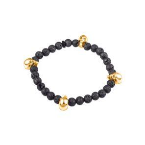 Black Lava Bead Stretch Bracelet with Rose Gold Plate Skulls