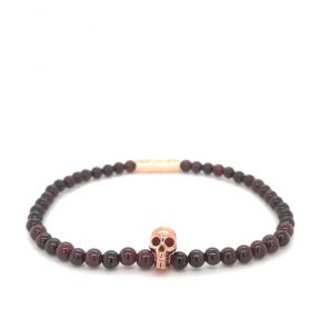 Garnet Bead Stretch Bracelet with Rose Gold Plate Skull