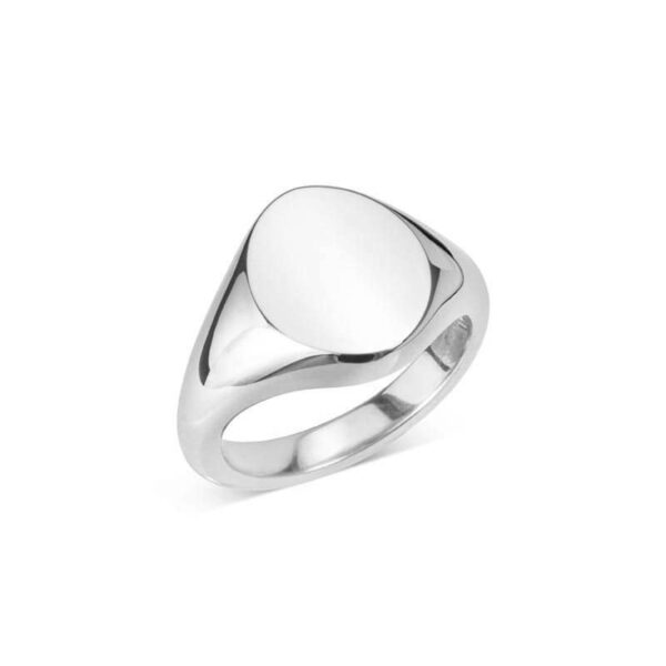 Sterling Silver Oval Signet Ring (14x11.5)