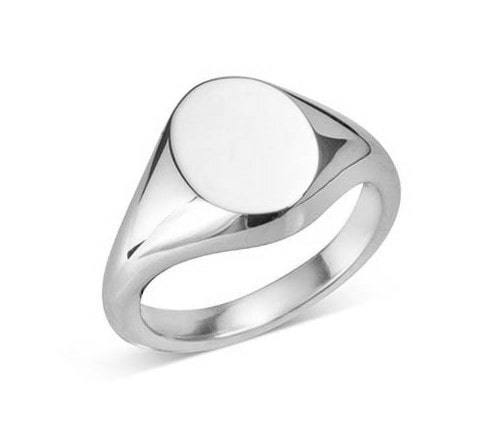 Sterling Silver Small Oval Signet Ring (10.5x8.5mm)