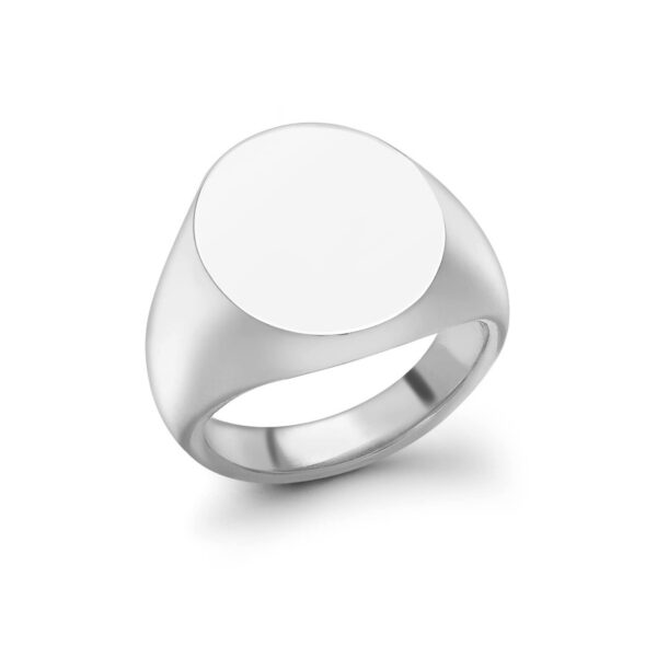 Sterling Silver Oval Signet Ring (15.5x13.5mm)