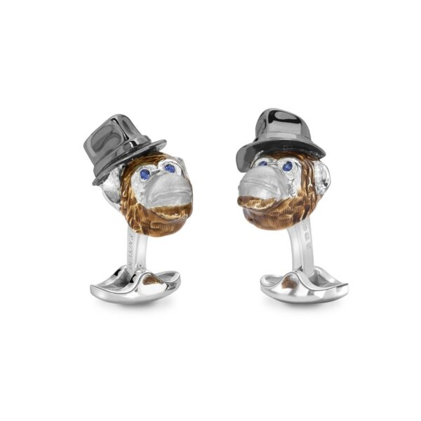 Sterling Silver Chimpanzee With Hat Cufflinks