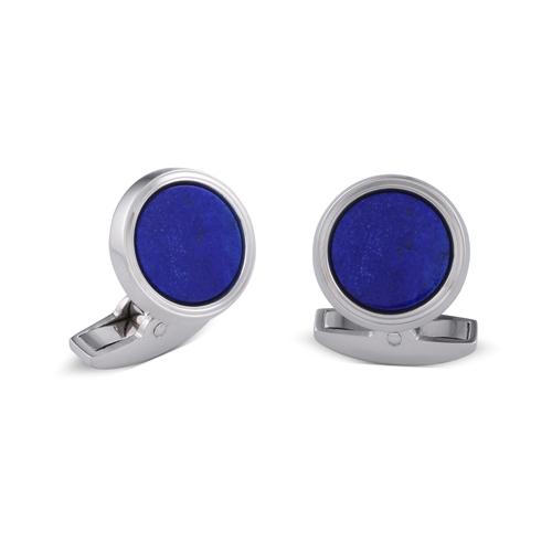 18ct White Gold Cufflinks With Lapis Lazuli Inlay