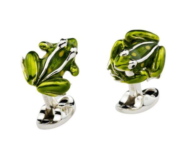 Sterling Silver Green Frog Cufflinks