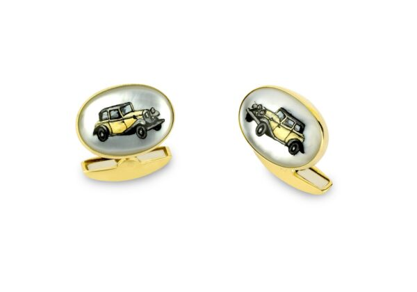 18ct Yellow Gold Hand-painted Rock Crystal Vintage Car Cufflinks