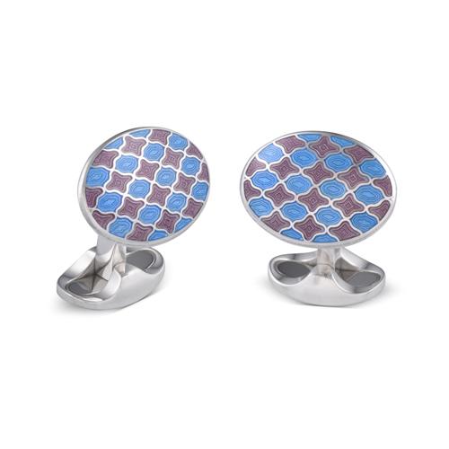 Sterling Silver Lilac and Denim Blue Enamel Pattern Cufflinks