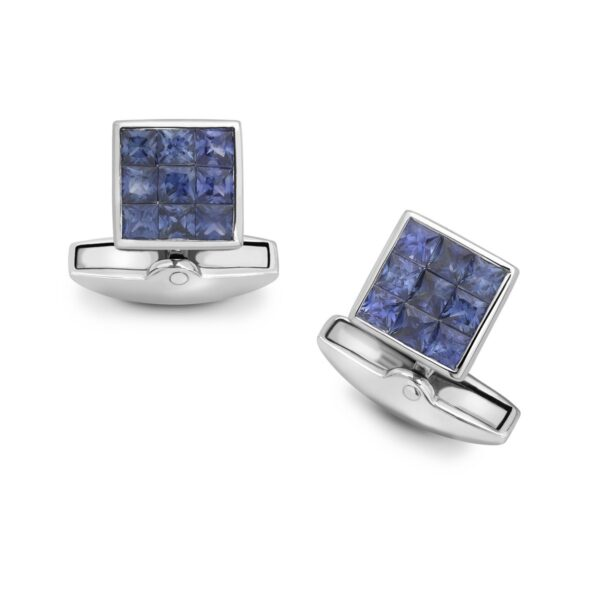 18ct White Gold Sapphire Small Square Cufflinks