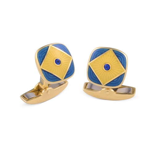 18ct Yellow Gold Blue And Clear Enamel Cufflinks With Sapphire Centre