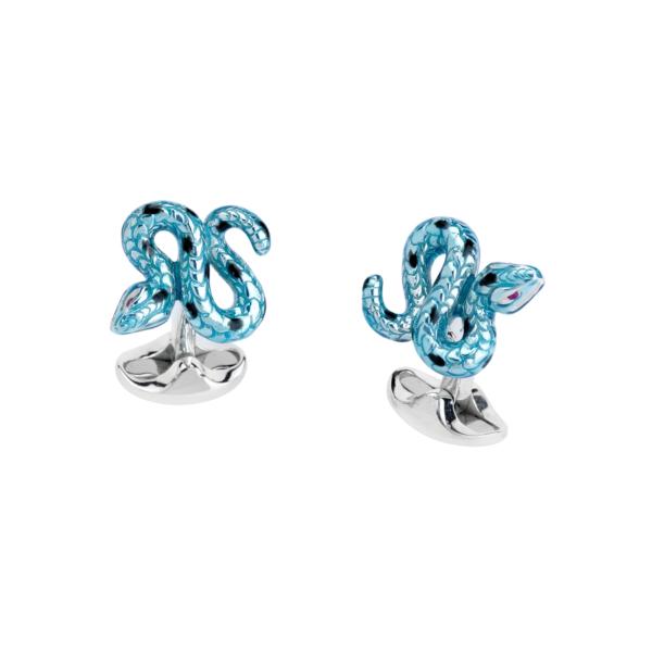 Sterling Silver Blue and Black Enamel Snake Cufflinks