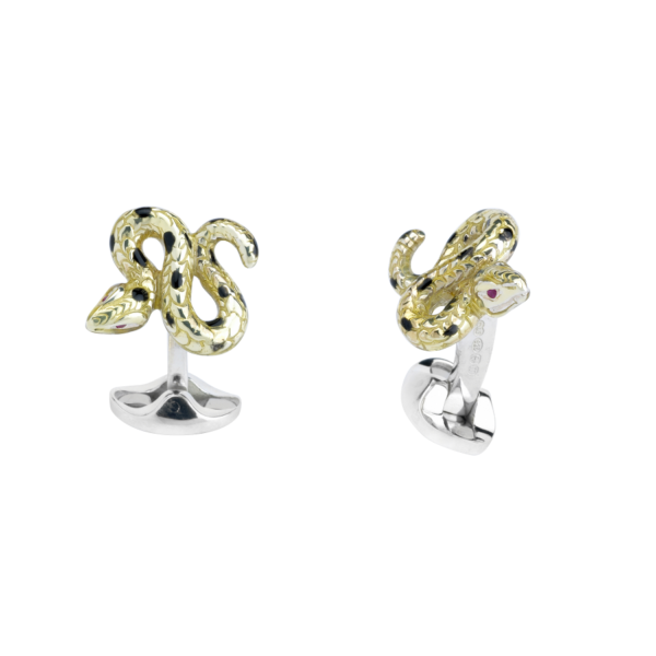 Sterling Silver Yellow and Black Enamel Snake Cufflinks