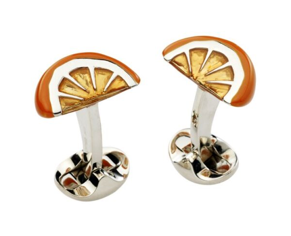 Sterling Silver Orange Wedge Cufflinks