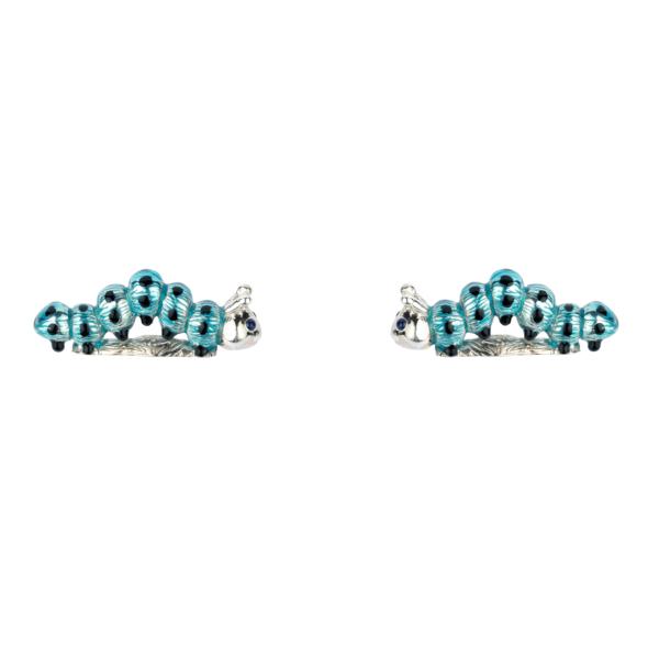 Sterling Silver Blue and Black Enamel Caterpillar Cufflinks